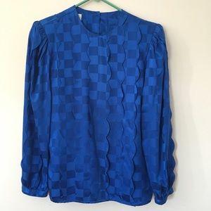 Vintage silk blue checkerboard ruffle blouse
